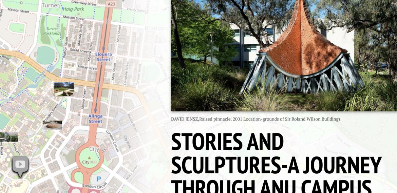 A screen grab of the ANU Sculpture Tour map